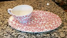 Euc Department 56 Christmas Holly Red Tea Cup and Oval Plate Set Ceramic Nice!
