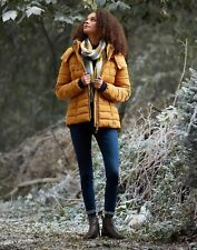 Joules Mujer Abrigo Acolchado Cassington con cuello de piel y capucha-Oro