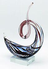 "New 9"" Hand Blown Art Glass Swirl Sculpture Figurine Statue Blue Black"