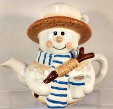 Snowman Hot Cocoa/ Tea pot Pre-Owned Very Cute Beautiful Condition