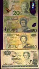 NEW ZEALAND: 4 x $20 BANK NOTES: ALL DIFFERENT gVF-UNC  NO  RESERVE !!