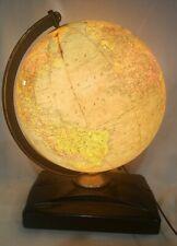 """1946-1953 Replogle 12"""" Precision Globe Glass! Lights Up! Antique! Made in U.S.A."""