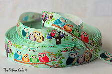 "Owl Family  printed grosgrain ribbon 22mm (7/8"") high quality"