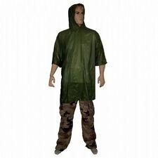 WATERPROOF OLIVE PONCHO hooded basha smock rain cover