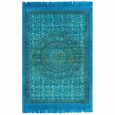 vidaXL Kilim Rug Cotton 120x180cm with Pattern Turquoise Flooring Carpet Mat