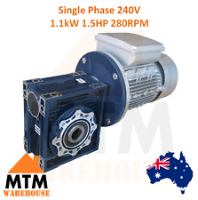 Single Phase 1.1kW 1.5HP 280rpm Type 50 Electric Motor & Worm Gearbox Drive i10