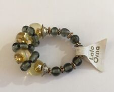 Lalo Orna Womens Bead Ring Gold Gray Tones Handmade Stretchy Fit Lt weight Resin