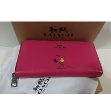 COACH x PEANUTS Snoopy ROSE PINK Leather Accordion Zip Long Wallet NEW