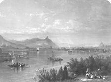 DRACHENFELS CASTLE Rhine River SAILBOATS ~ 1859 Landscape Art Print Engraving