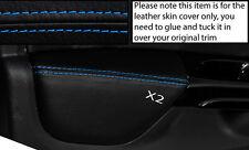 BLUE Stitch 2x ANTERIORE PORTA CARD BRACCIOLO PELLE COPERTINE si adatta a Renault Clio 2013 +