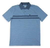 Brixton Mens Shield Stripe X Knit Polo Washed Navy Blue M New