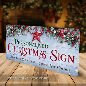 Personalised Christmas Sign Freestanding Metal Plaque Custom Gift Welcome Xmas