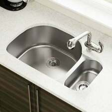 Stainless Steel Undermount 80/20 Offset Double Bowl Kitchen Sink with Drains