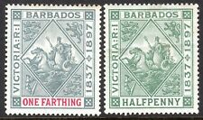 Barbados 1897Jubilee grey/carmine 1/4d dull-green 1/2d crown CC mint SG116/117