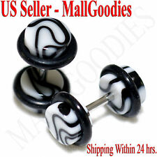 2014 White Marble Fake Cheater Illusion Faux Ear Plugs 16G Bar 2G = 6mm - 2pcs
