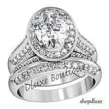 Para Mujer De Acero Inoxidable Halo Oval corte, AAA CZ anillo de boda Tamaño Set 5,6,7,8,9,10