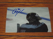 ALLEN YORK AUTOGRAPHED RPI COLLEGE 4X6 PHOTO # 2-FALCONS-BLUE JACKETS