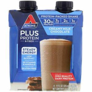 Atkins Plus Protein Fiber 11 oz 4 Milk Chocolate Shakes