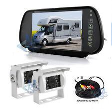 """Kit Retromarcia Specchietto 7"""" Telecamere 18 LED Manovre Auto Camper Bus"""