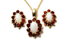 9ct Gold Opal and Garnet Cluster Pendant and Earring Set Gift Boxed Made in UK