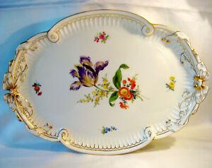 große Meissen Porzellan Platte 40,0 cm Tablett Blumen Schleifen / CQ 517