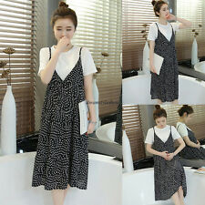 Korean Women Casual Chiffon Strap Loose A Line Summer Tunic Dress With Blouse