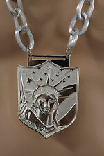 Men fashion long thick necklace silver chain links USA statue liberty pendant