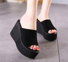 Womens Lady Wedge Slide Slippers Platform Flip Flops Sandals Shoes Black White