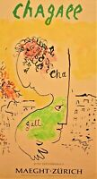 Marc Chagall Original Vintage Stamped Lithograph Print Gallery Exhibition Poster