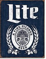 Miller Lite Brewing Beer Bottle Logo Weathered Retro Bar Pub Wall Art Decor Sign