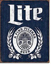 Miller Lite Brewing Beer Bottle Logo Weathered Retro Wall Decor Metal Tin Sign