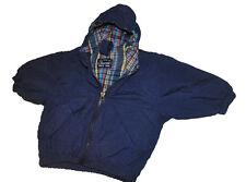 Carter's Windbreaker Nylon Jacket 12 M  Boys Blue with Plaid Inside Hooded Coat