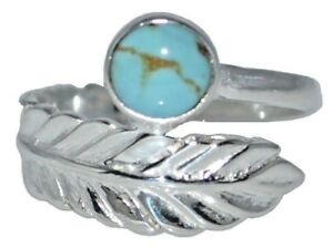 Sterling SILVER Blue Turquoise Ring Real Genuine Gemstone 925 Band Sizes K to Z