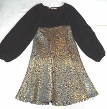 BNWT S TRAFFIC PEOPLE BLACK SILVER PEACOCK JACQUARD COCKTAIL PARTY DRESS