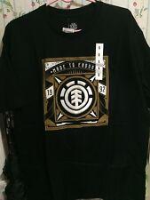 NWT Element Skateboards Square Logo Black White Gold T-Shirt L Large