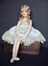 """Antique Boudoir Doll Shut Eye Composite and Cloth 28"""" Tall Sleep Eye Camel Hair"""
