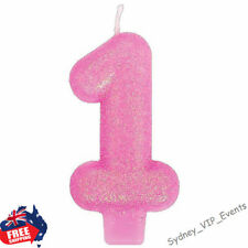 1st BIRTHDAY GIRL PARTY CANDLE NUMBER ONE PINK GLITTER CAKE DECORATION TOPPER