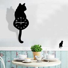 Creative Cartoon Cute Cat Wall Clock Home Decor Watch Ways Tail Move silence