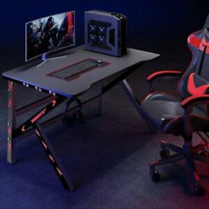 Black 120CM Computer Desk Study PC Writing Gaming Table Home Workstation LED