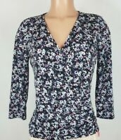 Liz Claiborne Women's Size Small Multi Color Blouse Floral 3/4 Sleeve V Neck