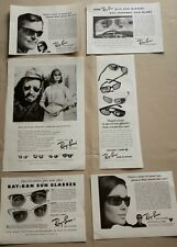 LOT OF 6 1950's-1960's RAY BAN SUNGLASSES PRINT ADS MAGAZINE ADVERTISING VINTAGE