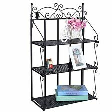 Metal Wall Shelf Display 3Tier Bookcase Storage Rack Bathroom Kitchen Unit Black