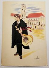 Embroidered Clothing Postcard Artist Carneiro Portugal Man with Mandolin