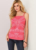 Coral Linen Blend Summer Square neckline Strappy Summer top size 18