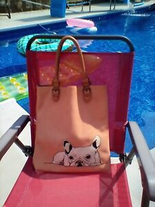 Miss Albright Donna McKenzie Peach colored Suede French Bulldog Tote Bag Cute😊