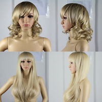 Women Cosplay Long Curly Hair Short Full Wigs with Bangs Blonde Free Shipping