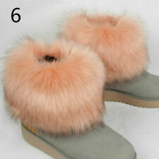 Faux Fur Shoes Boots Accessories Ankle Leg Cover Warmers Ring Fluffy Winter