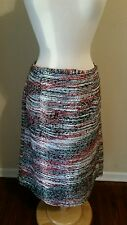 Cato Woman Red Gray Winter Fall Long Striped Work Casual Tweed Skirt Size 14/16W