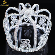 10cm High King Crystal Rhinestones Crowns Wedding Pageant Costume Hair Accessory
