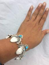 Beautiful  sterling 925 Turquoise Blue Topaz Face Links  bracelet